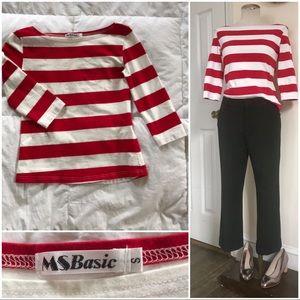 Red/white bold stripe 3/4 length t-shirt